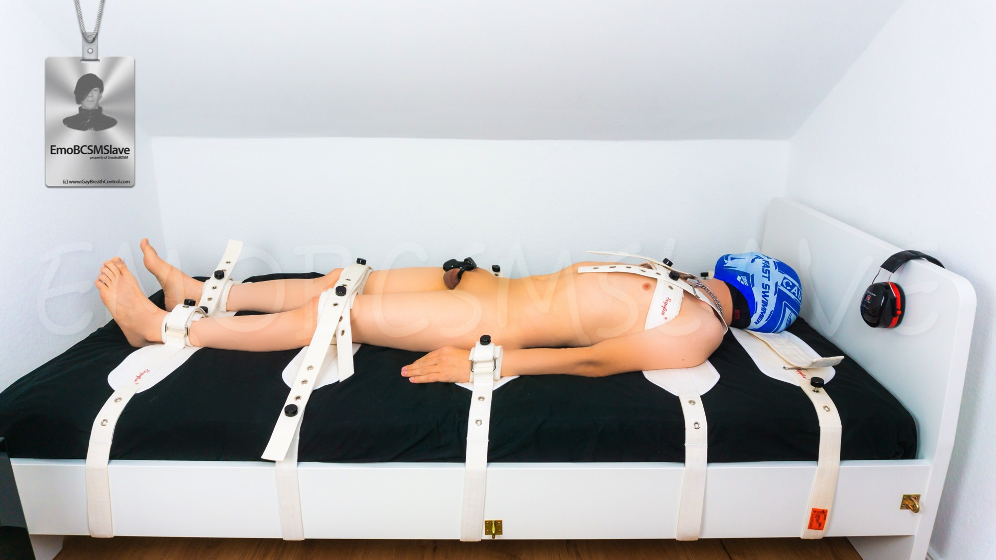 Nude EmoBCSMSlave swim cap breath controlled