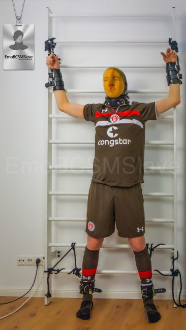 Soccer EmoBCSMSlave tied to wall bars and vacuum mask breath controlled