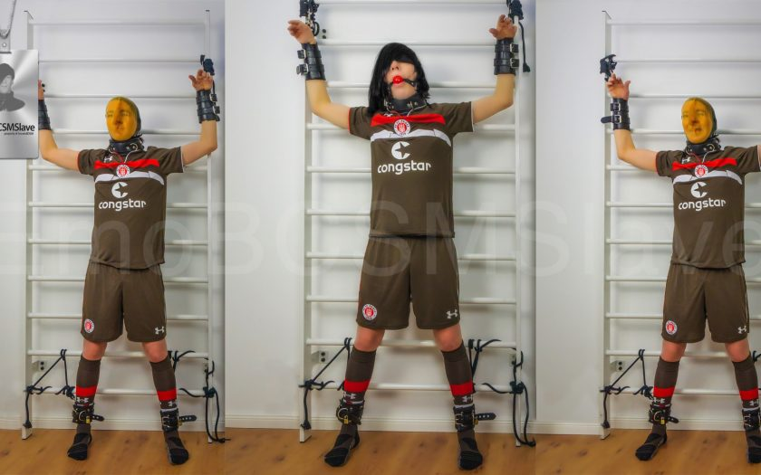 Soccer EmoBCSMSlave tied to wall bars and vacuum mask pass out